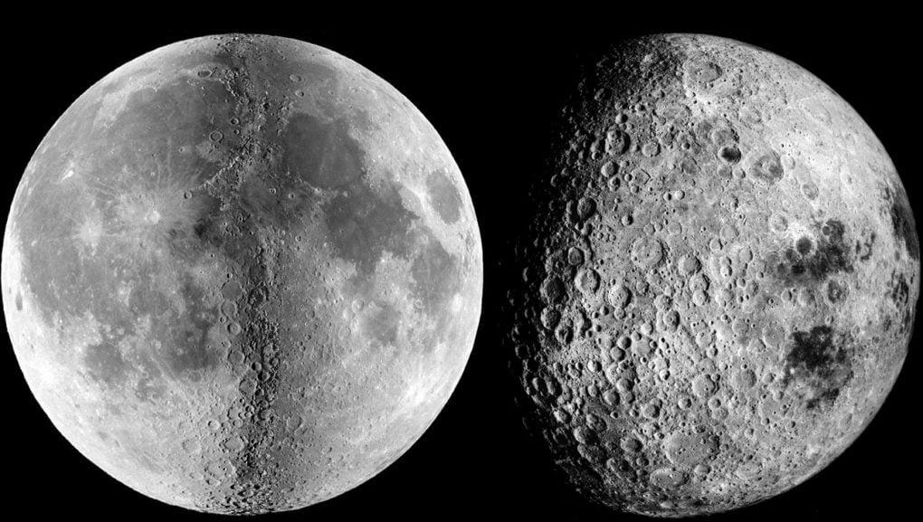 Vlevo přivrácená strana Měsíce, vpravo odvrácená. (zdroj: nasa.gov)