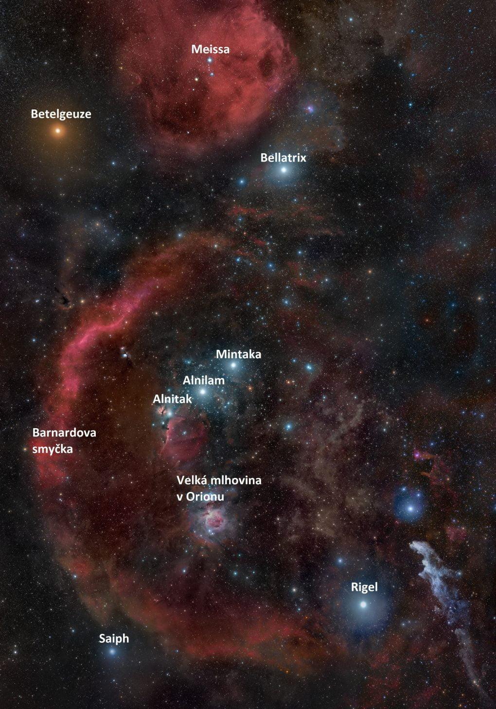 Souhvězdí Orionu i sobjekty hlubokého vesmíru. (Zdroj: commons.wikimedia.org, autor: Rogelio Bernal Andreo)