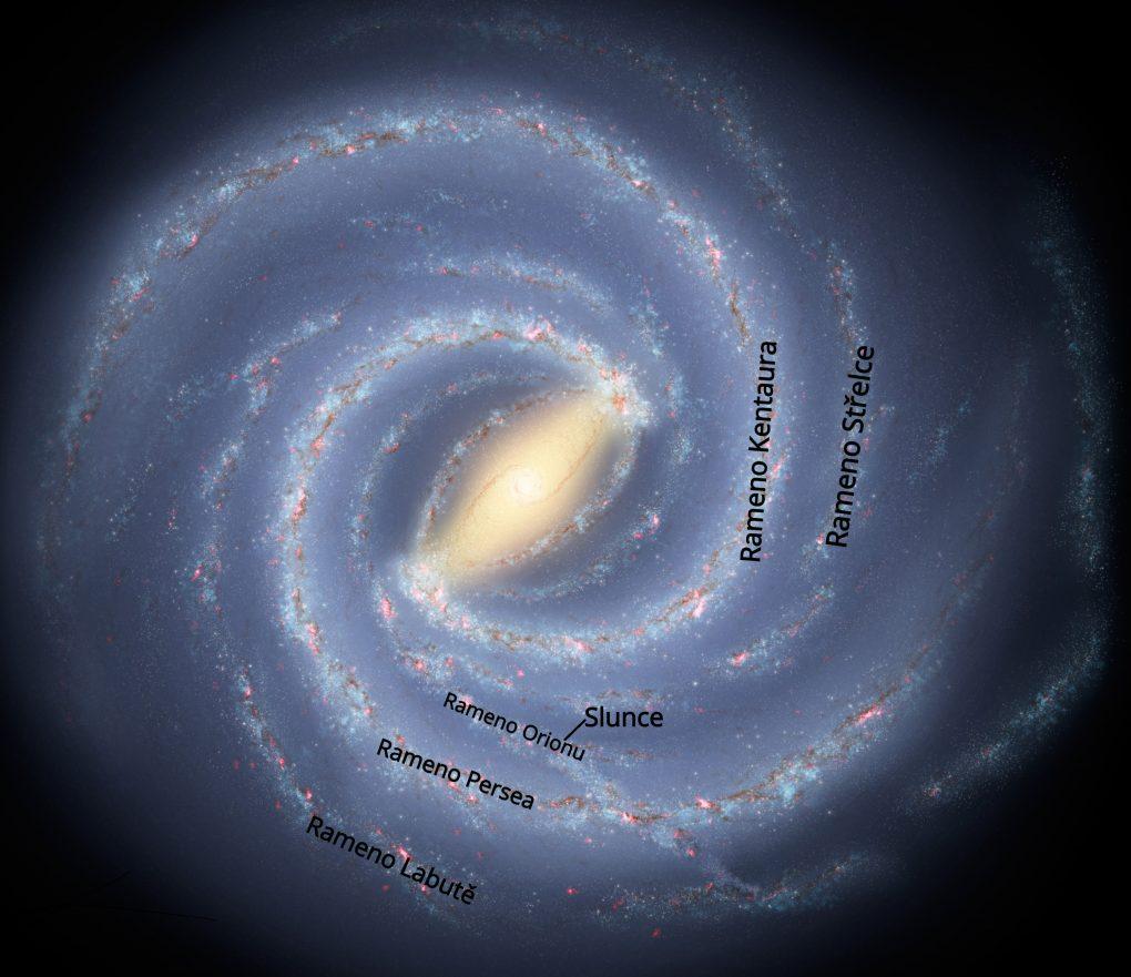 Pravděpodobná podoba naší galaxie při pohledu kpólu (dle nasa.gov)