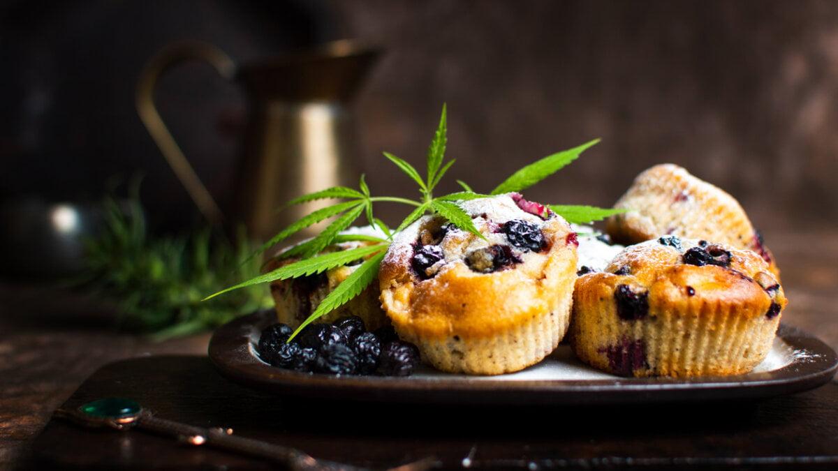 Muffiny s konopným máslem a ovocem ze zahrádky